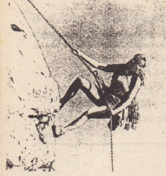 To descend, the rock climber must transfer energy from the gravitational potential energy of a system consisting of her, her gear, and Earth. She has wrapped the rope around metal rings so that the rope rubs against the rings. This allows most of the transferred energy to go to the thermal energy of the rope and rings rather than to her kinetic energy