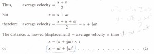 Equations of uniformly accelerated motion