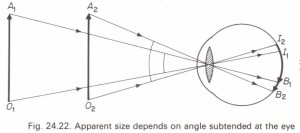 Angular magnitude and apparent size