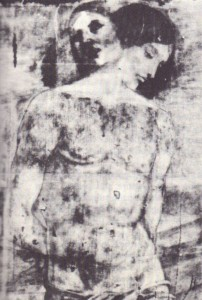 St. Sebastian by Francia. X-ray photograph superimposed, showing original head overpainted