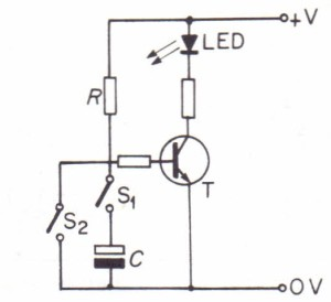 The capacitor charges when switch S, is closed