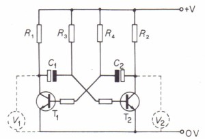 The collector of each transistor is linked to the base of the other via a capacitor