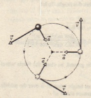 Velocity and acceleration vectors for a panicle in counterclockwise uniform circular motion. Both have constant magnitude but vary continuously in direction