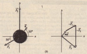 An overhead view of two of three horizontal forces that act on a cookie tin, resulting in acceleration ii. F3 is not shown. (b) An aqangement of vectors md, - FI' and - ~ to find force F3•