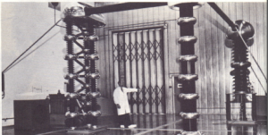 Fig. 47.8. A modified 70 MeV Cockcroft-Walton generator which supplies the ion source for the linear