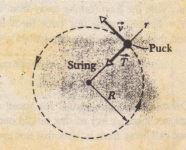 An overhead view o.fa hockey puck of mass m moving with constant speed v in a circular path of radius R on a horizontal frictionless surface. The centripetal force on the puck is T, the pull from the string, directed inward along the radial axis r extending through the puck