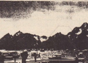 Exercise 2. A large meteorite skips across the atmosphere in the sky above the mountains (upper right).