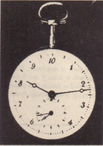 When the metric system was proposed in 1792. the hour was redefined to provide a IO-hour day. The idea did not catch on. The maker of this lO-hour watch wisely provided a small dial that kept conventional 12- hour time. Do the two dials indicate the same time?