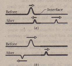 Fig.36-13 Phase changes when a pulse is reflected at the interface between two stretched strings of different linear densities. The wave speed is greater in the lighter string. (a) The incident pulse is in the denser string. (b) The incident pulse is in the lighter string. Only here is there a phase change. and only in the reflected wave.